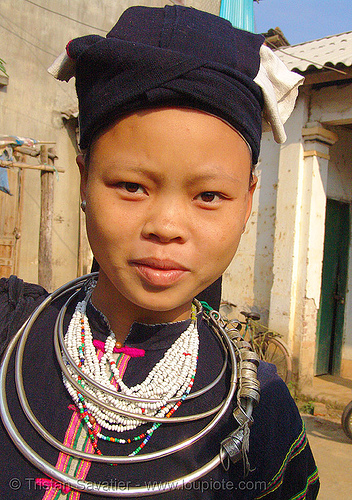 """lo lo den"" tribe girl with necklaces - vietnam, asian woman, black lo lo tribe, bảo lạc, hat, headwear, hill tribes, indigenous, lo lo den tribe, necklace, tribe girl"