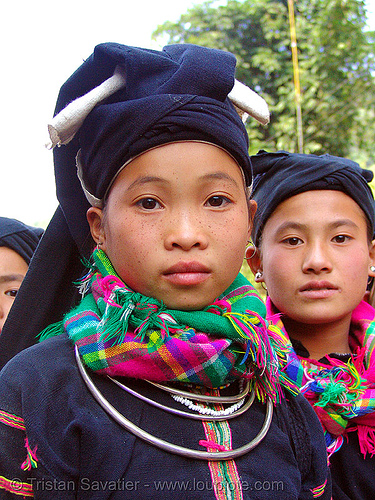 """lo lo den"" tribe girls - vietnam, black lo lo tribe, children, girls, hat, headwear, hill tribes, indigenous, kids, little girl, lo lo den tribe, necklace, tribe girl"