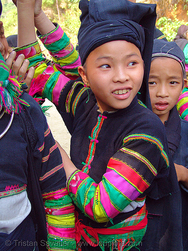 """lo lo den"" tribe kids - vietnam, black lo lo tribe, children, girls, hat, headwear, hill tribes, indigenous, kids, little girl, lo lo den tribe, tribe girl"