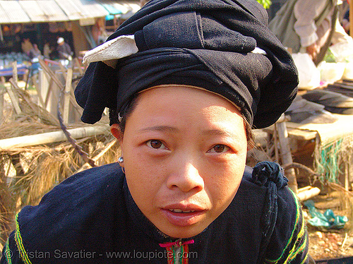 """lo lo den"" tribe woman - vietnam, asian woman, black lo lo tribe, bảo lạc, hat, headwear, hill tribes, indigenous, lo lo den tribe"