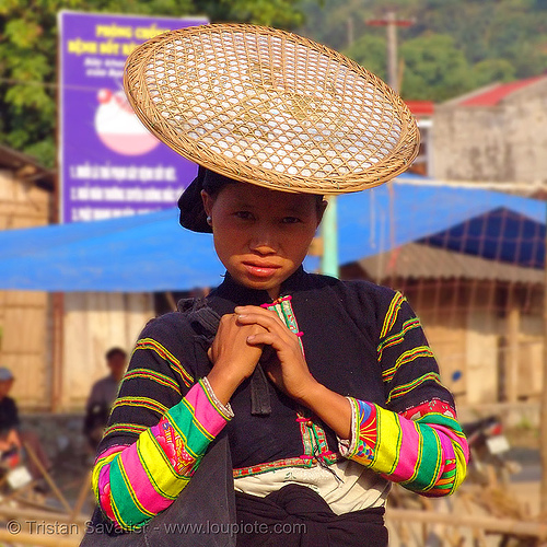 """lo lo den"" tribe woman with traditional flat straw hat - vietnam, black lo lo tribe, bảo lạc, colorful, headdress, hill tribes, indigenous, lo lo den tribe, straw hat, vietnam"