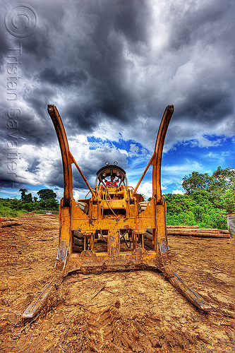 logging forks, at work, cat 966c, caterpillar 966c, clouds, cloudy sky, deforestation, environment, front loader, heavy equipment, hydraulic, logging camp, logging forks, machinery, wheel loader, wheeled, working, yellow