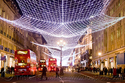 london christmas street lights decorations red double decker buses bristol vr - London Christmas Decorations