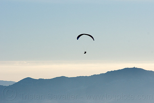 paraglider, backlight, flying, freedom, haze, hazy, horizon, lonely, paragliding, peaceful, people, silhouette