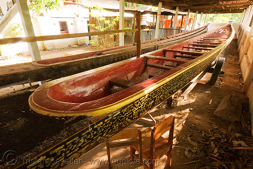 long boat in temple - luang prabang (laos), buddhism, luang prabang