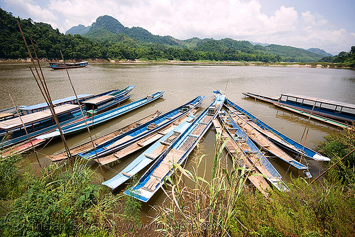 long boats on mekong river near luang prabang (laos), long boats, luang prabang, mekong, mooring, river boats, rowing boats, small boats, water