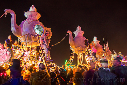 the lost tea party - burning man 2016, burning man, caravan, lost tea party, night, teapots