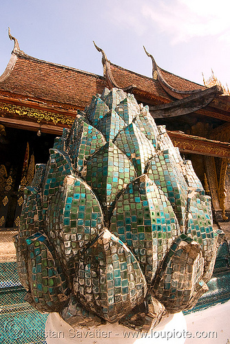 lotus flower mosaic sculpture in temple - luang prabang (laos), buddhism, buddhist temple, laos, lotus flower, luang prabang, mosaic, sculpture