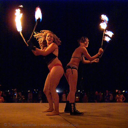 louise and gina, from ireland, spinning fire on the shiva vista stage - burning man 2007, burning man, fire poi, flames, night, shiva vista stage
