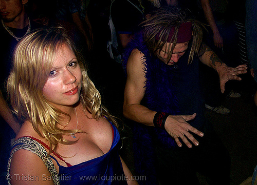 louise, blonde, cleavage, ignition party, night, rave party