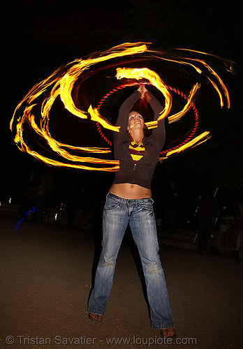 louise spinning fire hula hoop (san francisco), fire dancer, fire dancing, fire hula hoop, fire performer, fire spinning, flames, long exposure, night, spinning fire