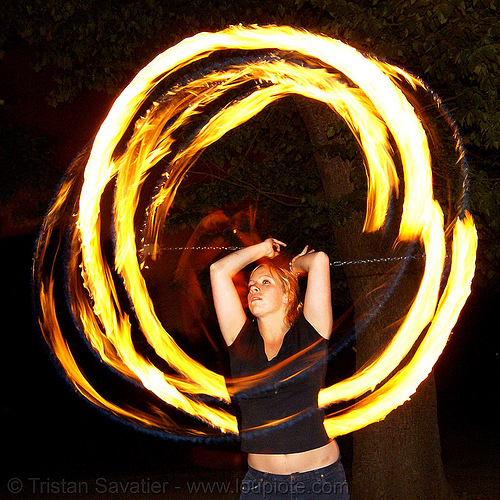 louise spinning fire poi, double poi, fire dancer, fire dancing, fire performer, fire poi, fire spinning, flame, long exposure, night, spinning fire
