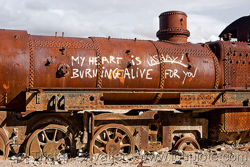 love graffiti on steam locomotive - train cemetery - uyuni (bolivia), abandoned, ashay, enfe, fca, heart, love graffiti, railroad, railway, rusted, rusty, scrapyard, steam engine, steam locomotive, steam train engine, train cemetery, train graveyard, train junkyard, uyuni
