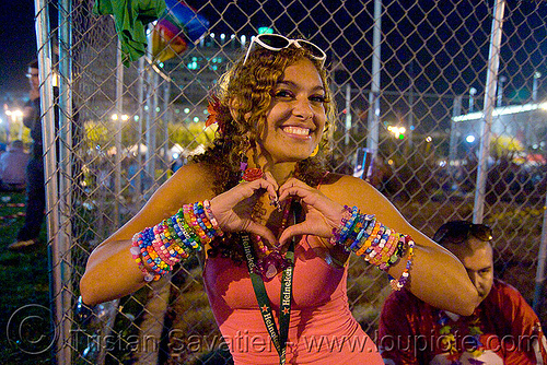 love sign - candy kid, beads, festival, finger heart, heart sign, kandi bracelets, kandi cuffs, kandi kid, kandi raver, love fest, lovevolution, night, plur, raver outfits, woman