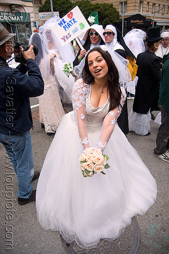 lovely bride with bouquet - diana furka - brides of march (san francisco), bridal bouquet, brides of march, diana furka, festival, flowers, wedding dress, white roses, woman