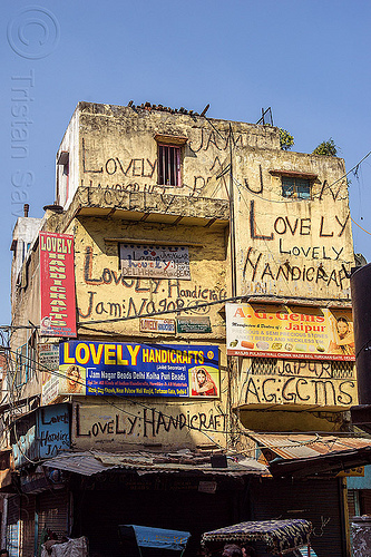 lovely handicraft, advertising, building, delhi, house, lovely handicraft, painted, sign, wall