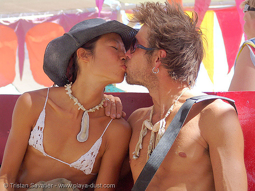 lovers kiss - burning-man 2005, burning man, center camp, couple, french kiss, kissing, love, making out, people, woman