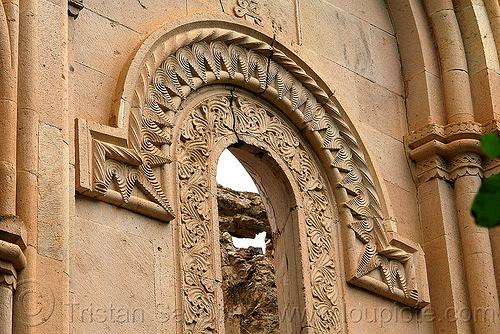 low relief carvings around window - Işhan monastery - georgian church ruin (turkey), byzantine architecture, decoration, floral, geometric, georgian church ruins, ishan church, ishan monastery, işhan, low-relief, motives, orthodox christian, window