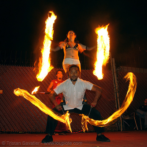 LSD fuego - john-paul and friend, fire dancer, fire dancing, fire performer, fire poi, fire spinning, night, spinning fire