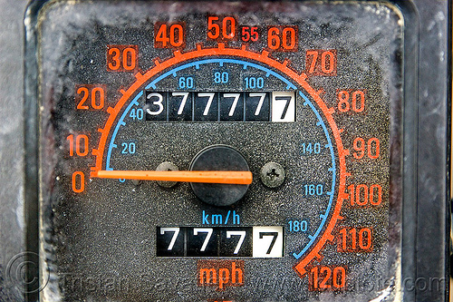 lucky seven odometer jackpot, 7777, close-up, dial, kawasaki, klr 650, odometer, seven