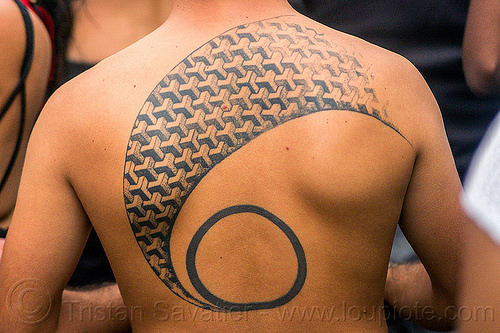 M. C. escher tattoo, back piece, folsom street fair, geometric, m.c. escher, man, patern, tattoo, tattooed