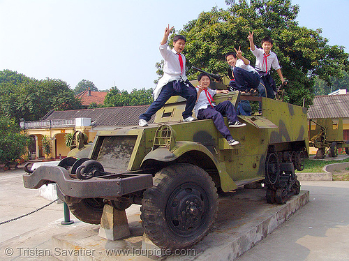 M3 half-track armored vehicle - war - vietnam, armored, army museum, children, hanoi, kids, m3 half-track, m5 half-track, military, peace sign, vietnam war