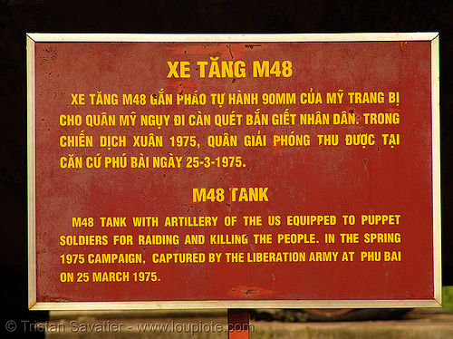 M48 patton sign - vietnam, army tank, hué, m48 tank, m48a3, military, museum, patton tank, puppet soldiers, sign, vietnam war