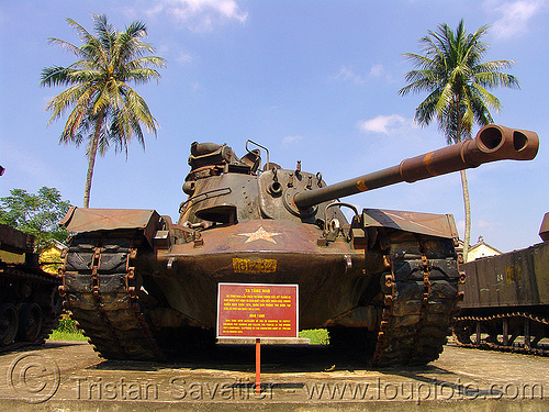M48 patton tank - vietnam war, american, army museum, army tank, gun, hué, m48 tank, m48a3 tank, military, patton tank, rusted, rusty, vietnam war
