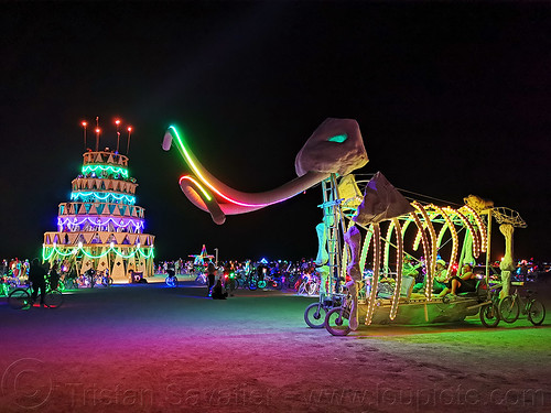 ma'aM the mammoth art car - burning man 2019, birthday cake, burning man, glowing, ma'am the mammoth art car, megacake, mutant vehicles, night