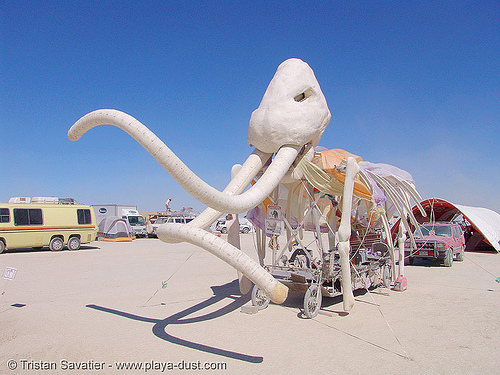 ma-am the mammoth art quadricycle - burning-man 2005, art car, burning man, ma'am, mammoth, quadricycle