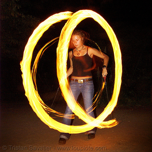maddie spinning fire poi (san francisco), fire dancer, fire dancing, fire performer, fire poi, fire spinning, flame, long exposure, maddie, night, spinning fire