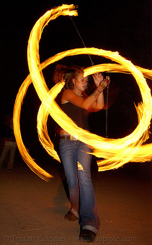 maddie spinning fire poi (san francisco), fire dancer, fire dancing, fire performer, fire poi, fire spinning, flames, long exposure, maddie, night, spinning fire