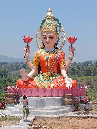maha lakshmi, goddess, goddess lakshmi, hindu, hinduism, lotus flowers, people, phu ruea, statue, woman, ประเทศไทย