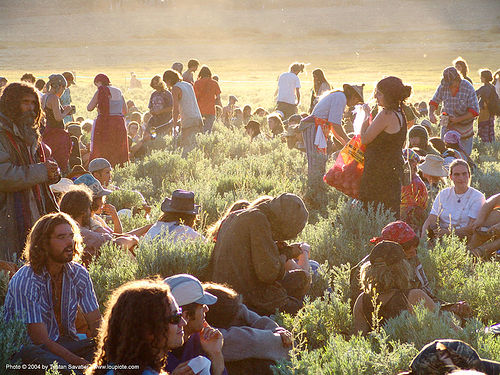 main-circle-supper - rainbow gathering - hippie, backlight, crowd, main circle, people, rainbow family