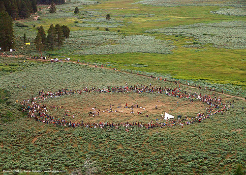 main-circle-supper - rainbow gathering - hippie, aerial photo, hippie, main circle, rainbow family, rainbow gathering
