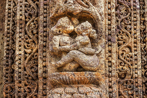 maithuna - erotic sculpture of couple sitting - konark sun temple (india), erotic sculptures, high-relief, hindu temple, hinduism, india, konark sun temple, maithuna