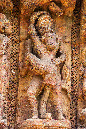 maithuna - hindu erotic sculpture - konark sun temple (india), erotic sculptures, high-relief, hindu temple, hinduism, india, konark sun temple, maithuna