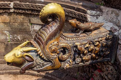 makara fountain - naga pokhari water tank - bhaktapur (nepal), brass, durbar square, elephant, goat, goat head, hinduism