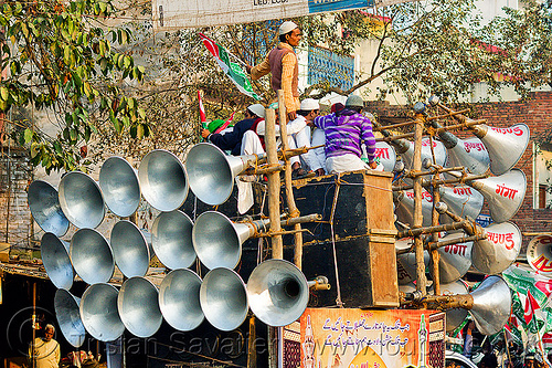 makeshift sound system on pickup truck - eid-milad-un-nabi muslim festival (india), bullhorns, crowd, eid-e-milad-un-nabi, eid-e-milād-un-nabī, eid-milad-un-nabi, islam, loud speakers, mawlid, men, milad un-nabi, milad-an-nabi, milād an-nabī, milād un-nabī, mohammed's birthday, muhammad's birthday, muslim festival, muslim parade, muslims, nabi day, prophet's birthday, religion, sound, street, عید میلاد النبی, ईद मिलाद नबी
