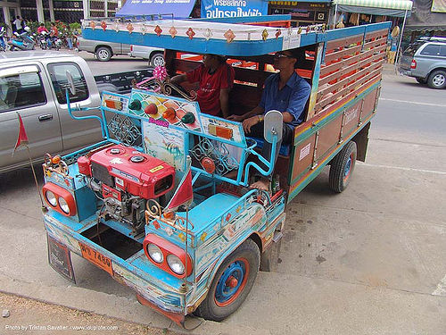 makeshift truck - decorated - thailand, custom truck, decorated, farmer truck, lorry, makeshift, painted, phimai, road, street, ประเทศไทย, พิมาย