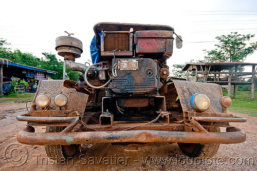 makeshift truck (laos), country, diesel, engine, farmer truck, front, laos, lorry, makeshift, road