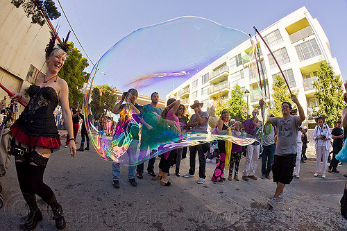 making a giant soap bubble, burning man decompression, giant soap bubble