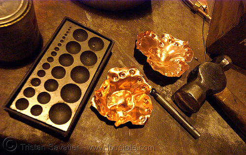 making metal flowers, copper, emboss, flaming lotus girls, hammer, metal, tools