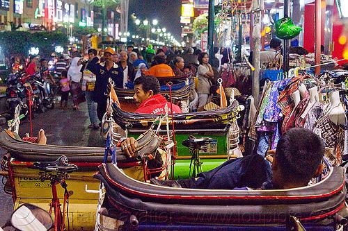 malioboro street (jogja), becaks, cycle rickshaws, java, jogja, jogjakarta, malioboro, night, people, street, yogyakarta