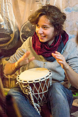 malou - girl playing djembe drum, varanasi