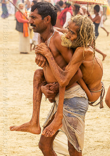 man carrying crippled father on his back - kumbh mela 2013 (india), carrying, crippled, father, hindu pilgrimage, hinduism, india, maha kumbh mela, men, old man, son, walking