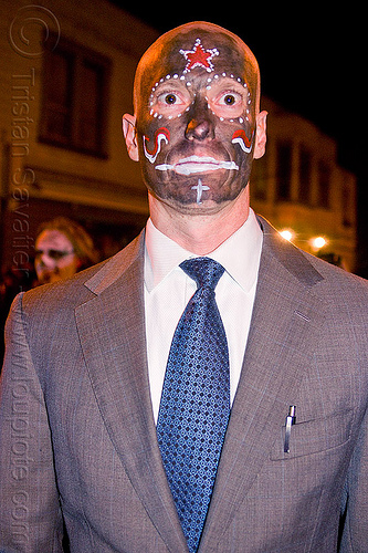 man in suit with black skull makeup, black skull facepaint, blue tie, corporate, day of the dead, dia de los muertos, face painting, halloween, night, people