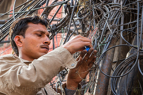 man installing telephone wiring (india), delhi, electric, electricity, infrastructure, man, phone lines, street pole, tangled, technician, telephone, wires, wiring, worker, working