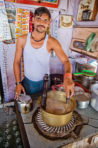 man making chai - sailana (india), chai wallah, copper pot, man, milk tea, spice tea, stove top