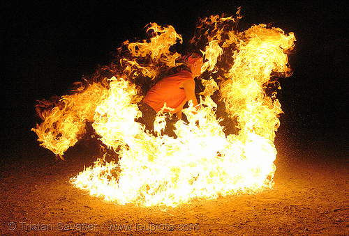man on fire - street performer (san francisco), death by fire, fire dancer, fire dancing, fire performer, fire spinning, immolation, man burning, night, shanti alex, spinning fire